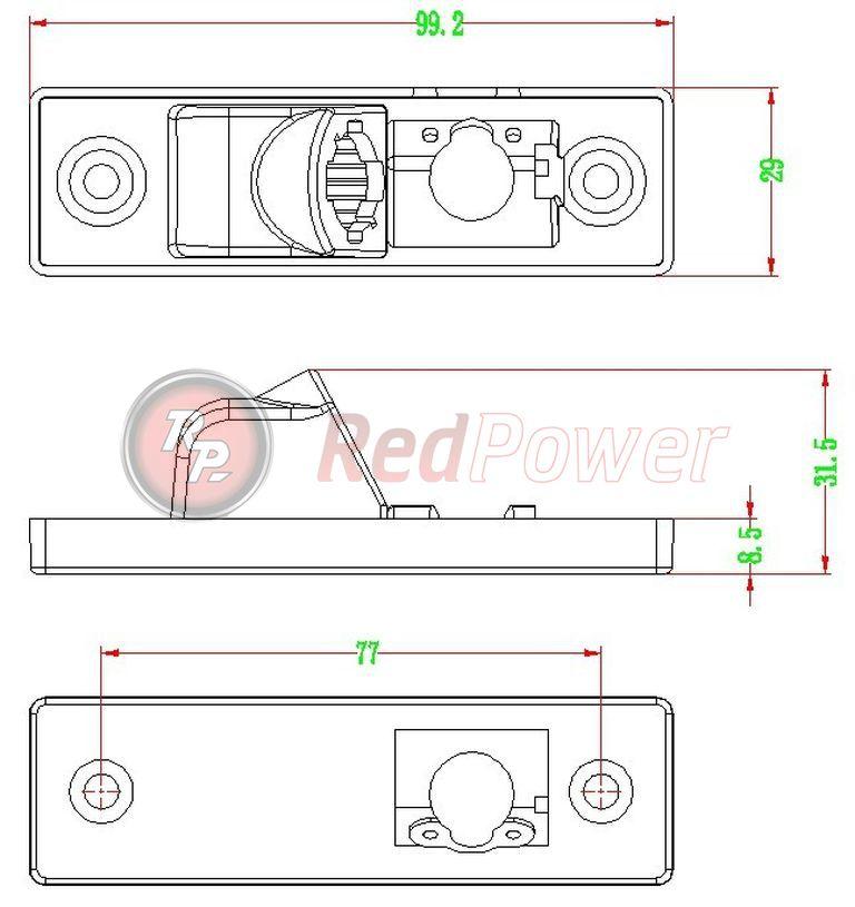 Размеры камеры заднего хода Redpower