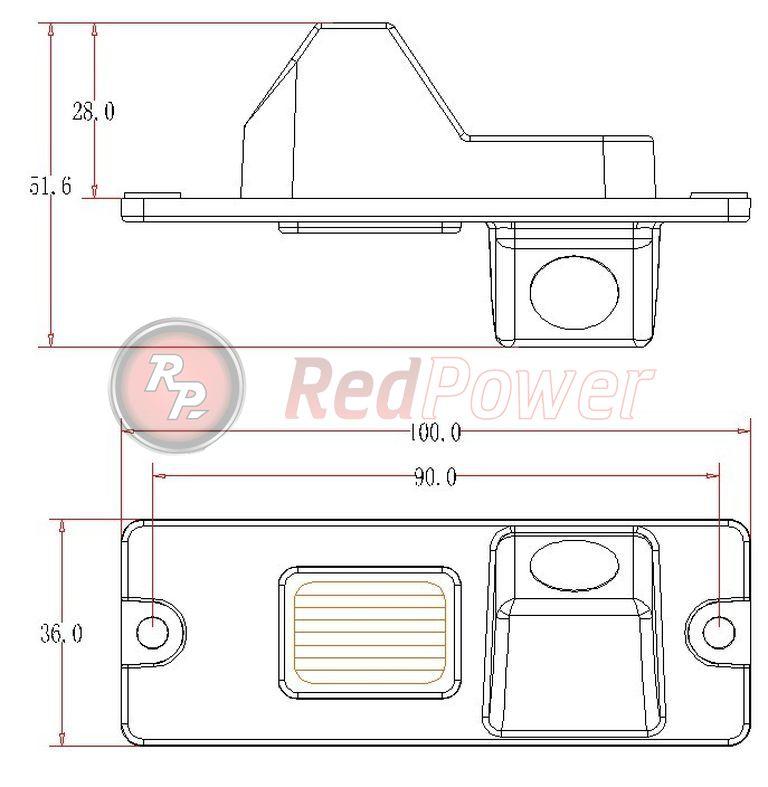 Размеры камеры парковки MIT104 на Mitsubishi Pajero 4 штатная парковки вида