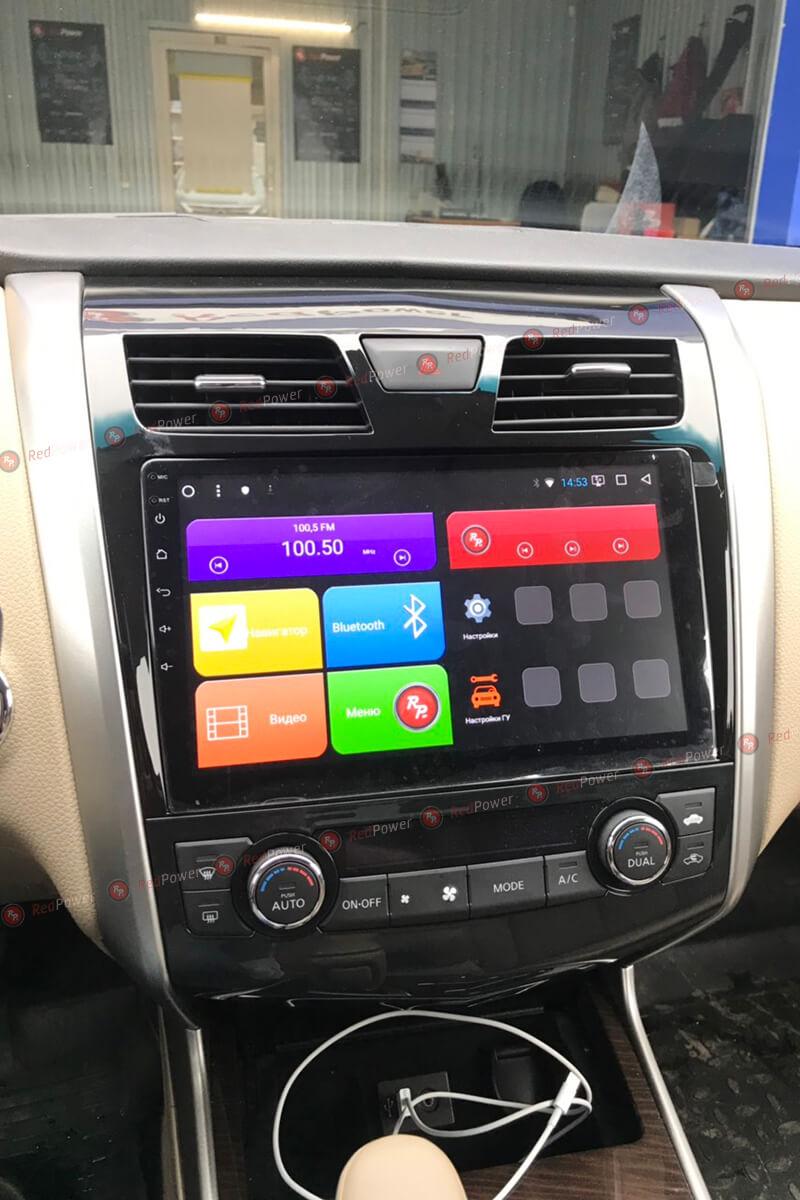 Установленная магнитола redpower 31302 R IPS DSP на автомобиль Nissan Teana