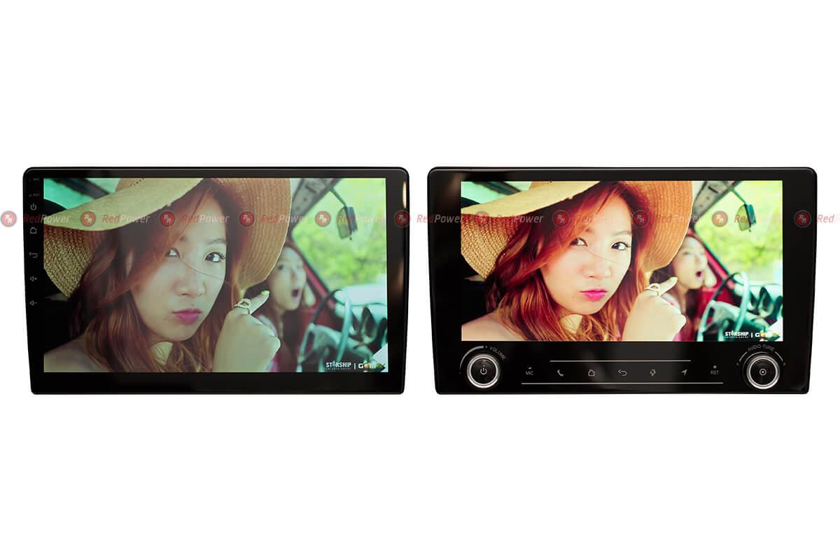Более яркий экран (600 Кд) магнитолы 9,2'' RedPower (включенное состояние) и стандартный экран магнитолы 10''