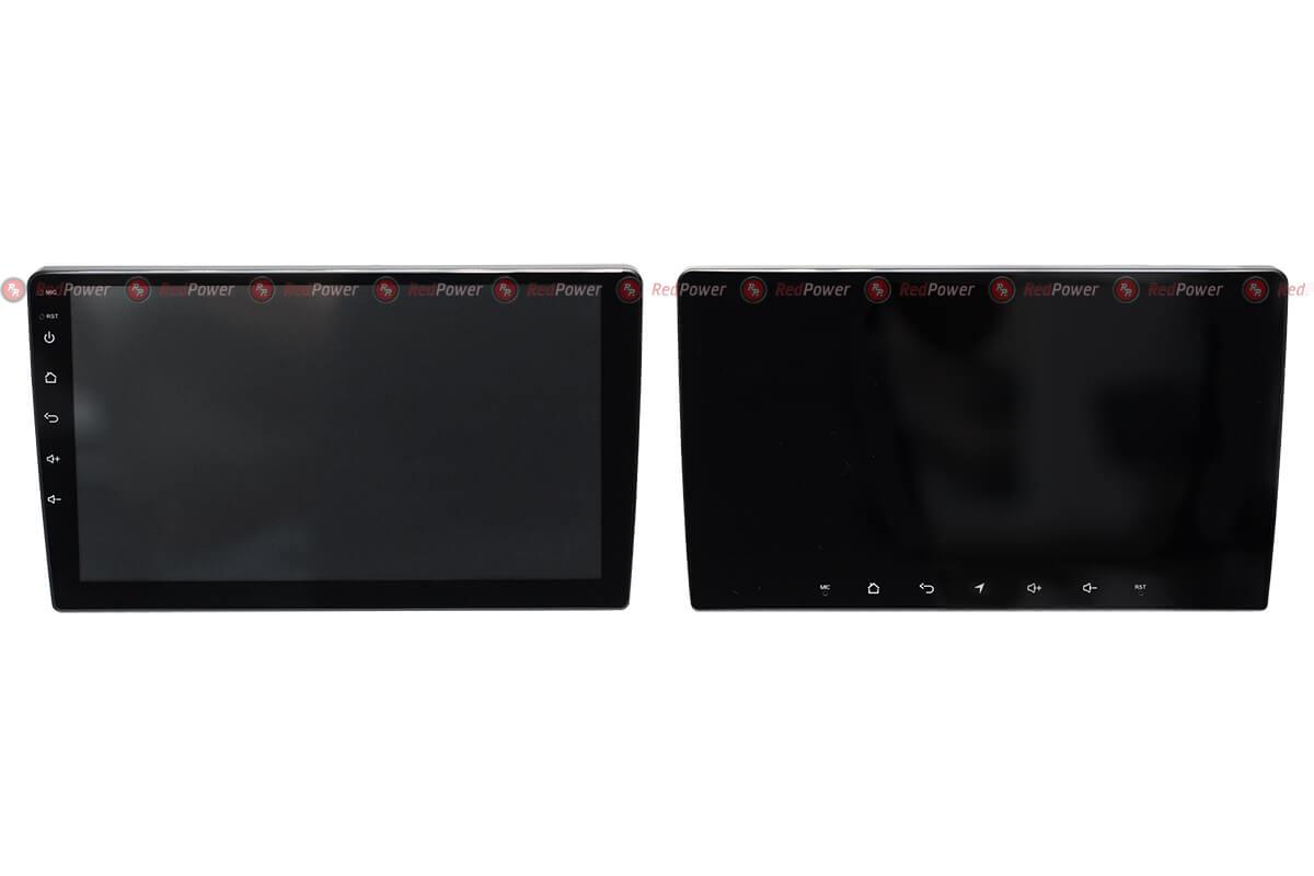 Тонированный экран магнитолы 9,2'' RedPower (выключенное состояние) и стандартный экран магнитолы 9''