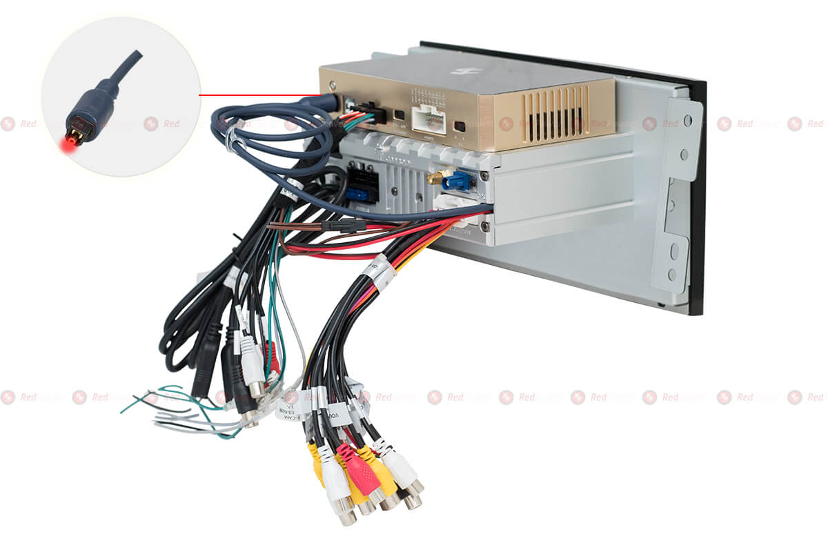 Вариант установки DSP 5.1 процессора RedPower на автомагнитолу RedPower серии 310 с оптическим выходом